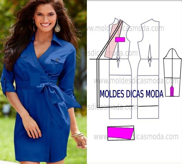 O molde de vestido de trespasse que hoje publico também pode ter a função de uma bata. Este molde de vestido é fácil de fazer.