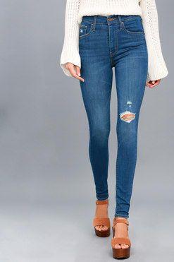 16ca2af2d5d138 Mile High Super Skinny Medium Wash Distressed Jeans 2 | Fashion 2018 ...