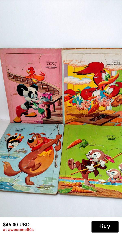 retro 1950s Walter Lantz cartoon collection of 4 preschool puzzles ~ ready for play or display