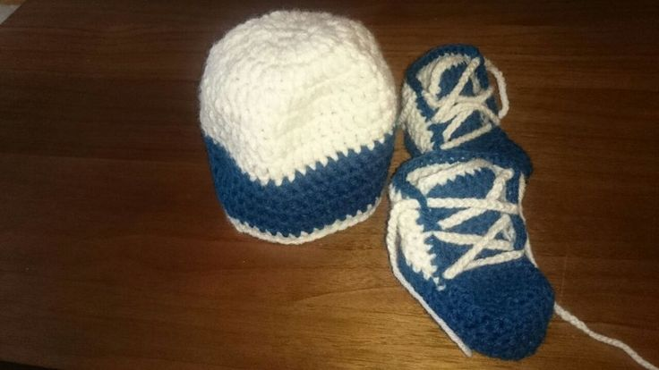 Crocheted booties and hat