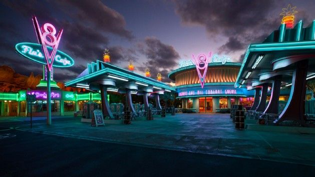 Gas Station-themed Entrance To Flo's V8 Cafe Lit With Neon