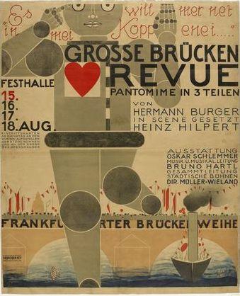 Poster by Oskar Schlemmer (1888-1943), 1926,  the Great Bridge Revue (Große Brücken Revue), Städtische Bühnen, Frankfurt.