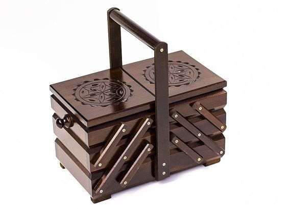 10% OFF Wooden sewing box or casket. Wooden jewelry box.