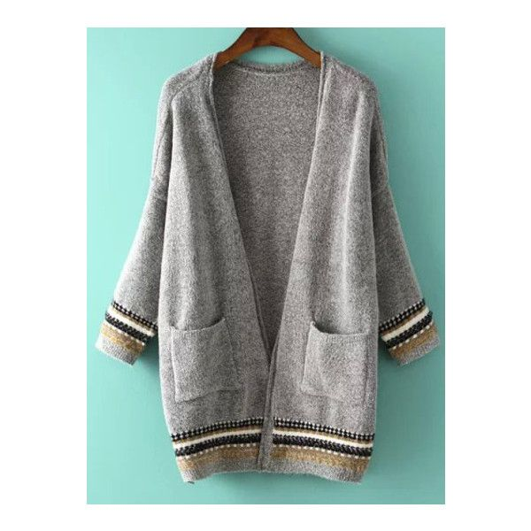 SheIn(sheinside) Grey Long Sleeve Pockets Knit Cardigan ($24) ❤ liked on Polyvore featuring tops, cardigans, grey, long sleeve tops, grey cardigan, striped cardigan, embellished cardigan and knit cardigan
