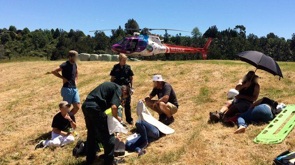 Two horse riders were injured when both horses were spooked. Flown to Tauranga Hospital by the Trustpower TECT Rescue Helicopter