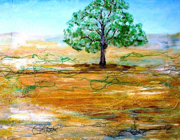 LONELY YOUNG AMERICAN ASH TREE (Joven fresno americano solitario) 51x43 cm = 20x17 in - ASK FOR PRICE (Pregunta precio)