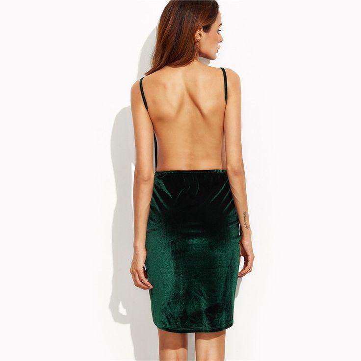 Moda Vestidos de Festa Feminino Calitta. Vestido Curto Verde Escuro Seda Aveludado Festa Clube Noite Vip. Compre roupas de mulher online Calitta.
