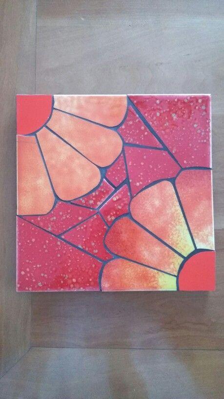 Tabla en mosaico flores