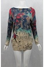 Women's  Free Size Knitted Jumper in Girl with Umbrella Print (# 2806T Beige)
