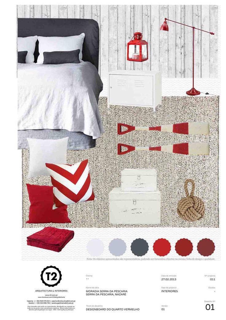 Red bedroom, house in Serra da Pescaria, Nazaré, Portugal (project #011). By T2 Arquitectura & Interiores.