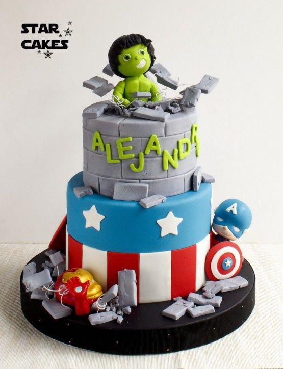 superhero cake, hulk, capitan america, ironman, tarta superheroes