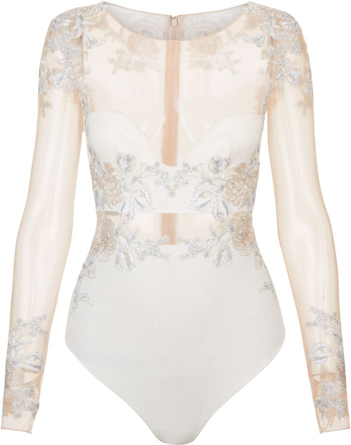 PEONY Off-white bodysuit in embroidered stretch tulle and silk georgette