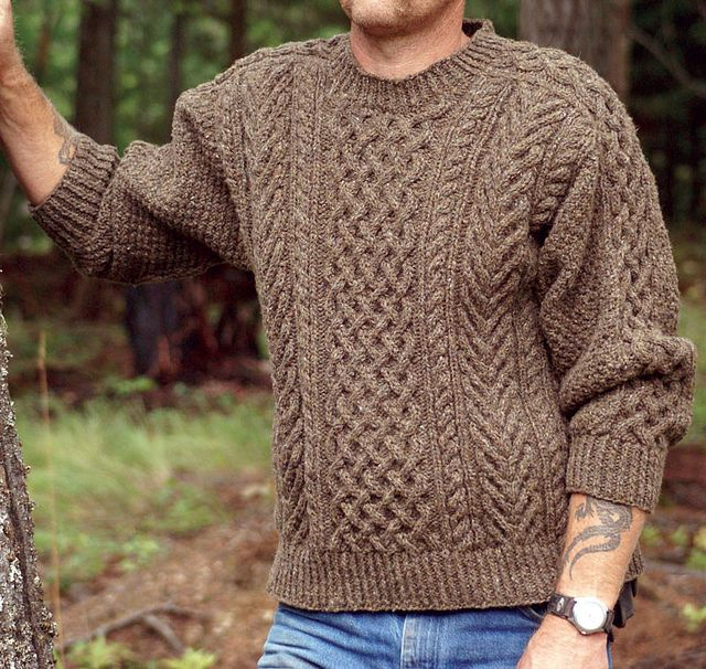 My thick Jacobs Wool yarn has finally found out what it wants to be when it grows up! - Ravelry: Staghorn Aran Second Edition pattern by Janet Szabo