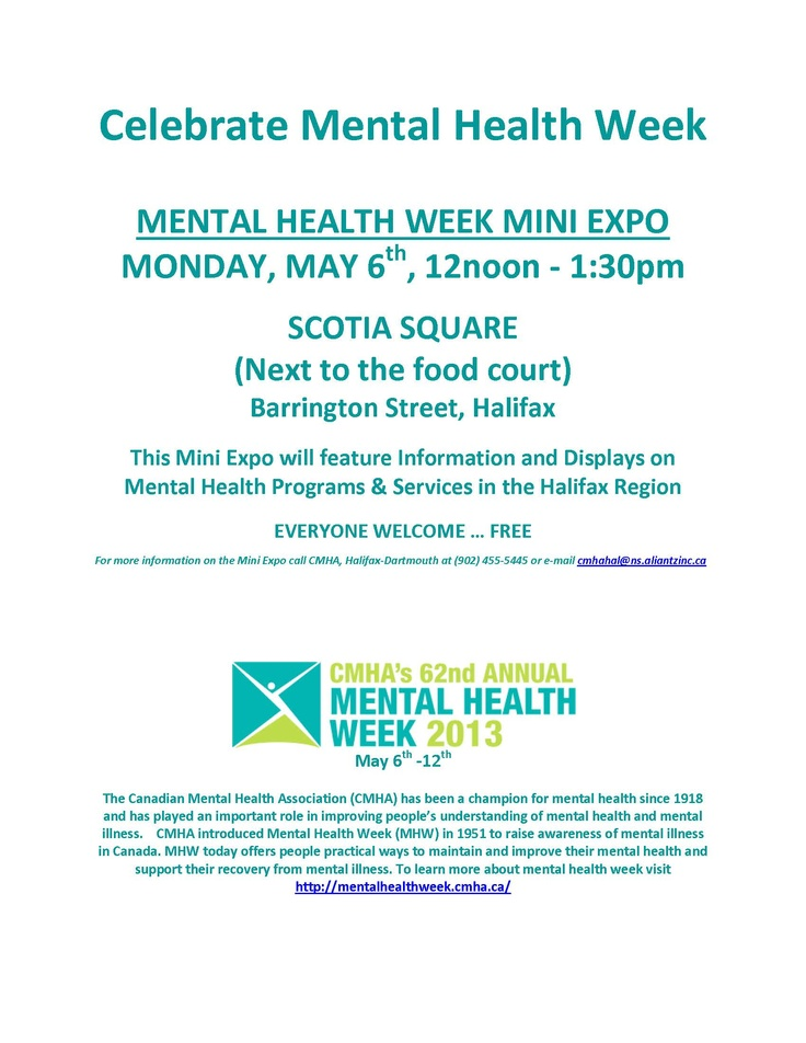 Mental Health Week Mini Expo - Monday May 6th, 2013 #MHW