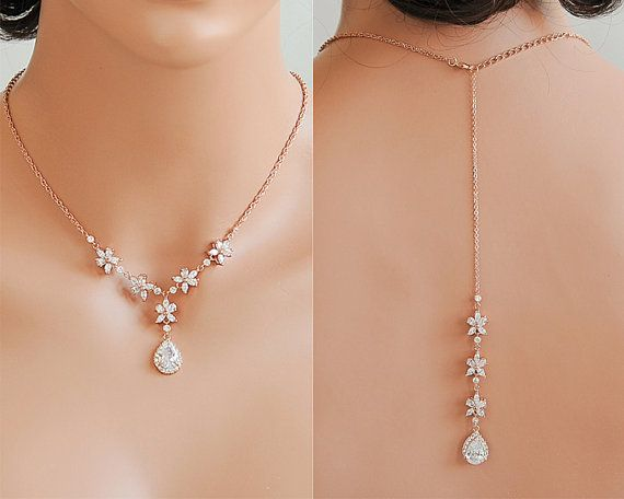 Rose Gold Hochzeit Halskette Rücken fallen von GlamorousBijoux