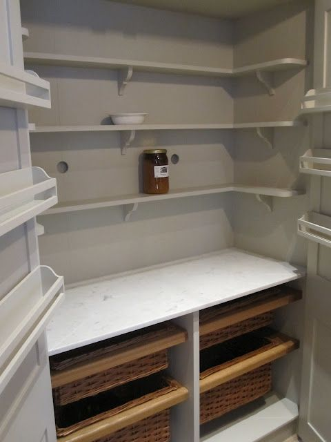 Henhurst Interiors: London Calling- Plain English larder cabinet w/ basket drawers & marble counter