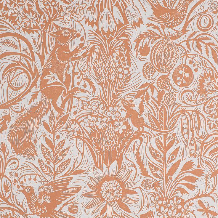 Mark Hearld - wallpaper - Squirrel and Sunflower - Hazel Brown