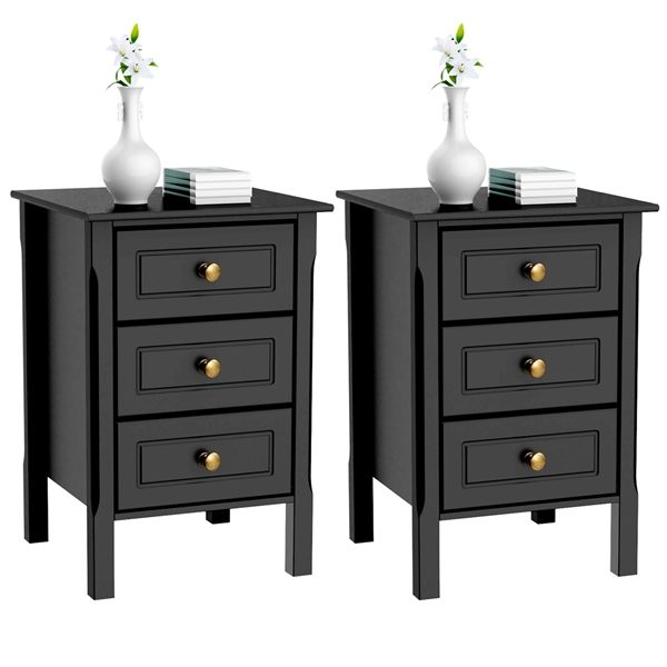 Yaheetech 3 Drawer Square Wood Tall End Table Set Of 2 Black Finish Walmart Com Bedroom End Tables Tall End Tables Black Bedroom Furniture