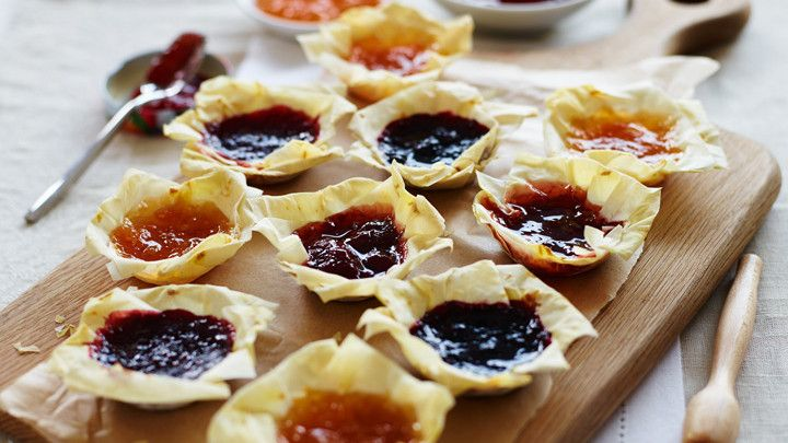 Jam tarts with filo pastry   Recipes   Yours