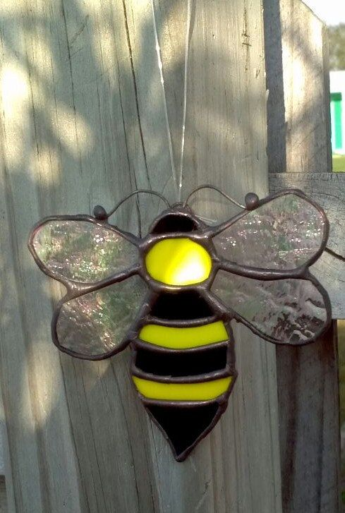 Black Bumble Bee >> Stained Glass Bumble Bee Suncatcher by SunshineGlassworks on Etsy, $10.00 | art glass windows ...