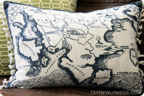 Nautical map pillow (made from a cloth placemat!)