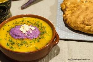 vellutata zucca, ganache, carote viola, gluten free, senza glutine, carote viola, zuppa