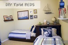 Twin Beds DIY... Just like Pottery Barn Corner Storage Bed Solution