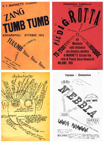 """""""Zang Tumb Tumb"""" is a sound poem written by Filippo Marinetti, an Italian futurist. It is an account of the Battle of Adrianople, which he witnessed as a reporter. The poem uses """"Parole in Libertà"""" (words in freedom), creative typography, and other poetic impressions of the events of the battle, including the sounds of gunfire and explosions. The work had an enormous influence on the emerging culture of European avant-garde print."""