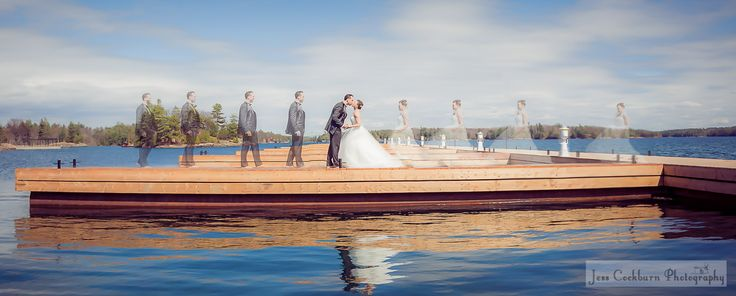 some multiple exposure magic! A bride and groom walking towards each other on a dock in Ontario