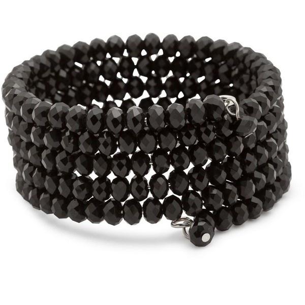 Jet Facet Stone Coilwrap Bracelet ($9.70) ❤ liked on Polyvore