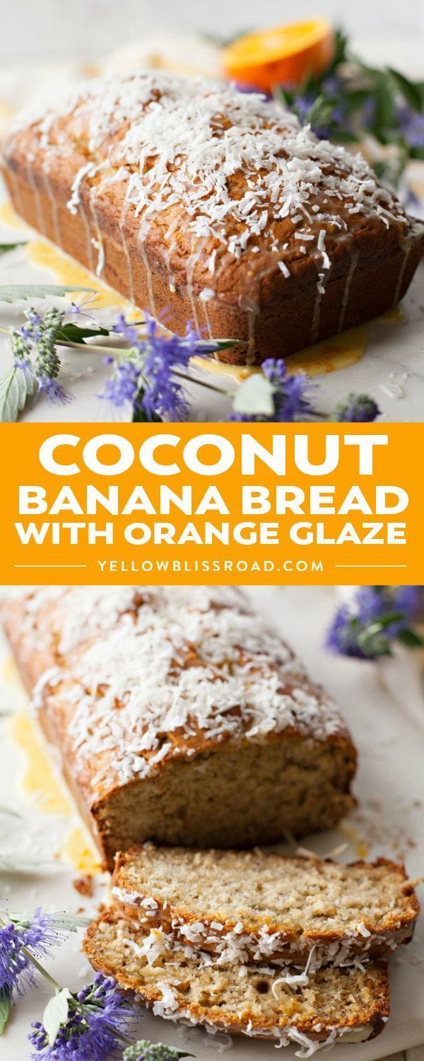 Try this tropical twist on a classic favorite! Coconut Banana Bread with Orange Glaze has coconut flavor baked in and a bright, sweet orange glaze on top! #dessert #easter yellowblissroad