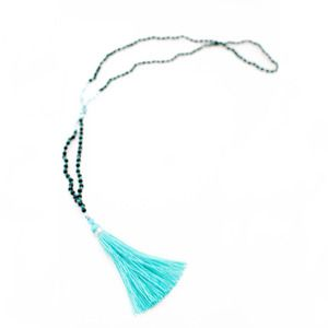 'Rumbah' Tassel Necklace in Aqua is the perfect pop of colour to accessorize your outfit www.morecollections.com.au