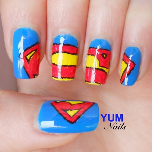 "Super Man nails I think I might wear this nail look to go watch ""Man of Steel"" so cuteee!"
