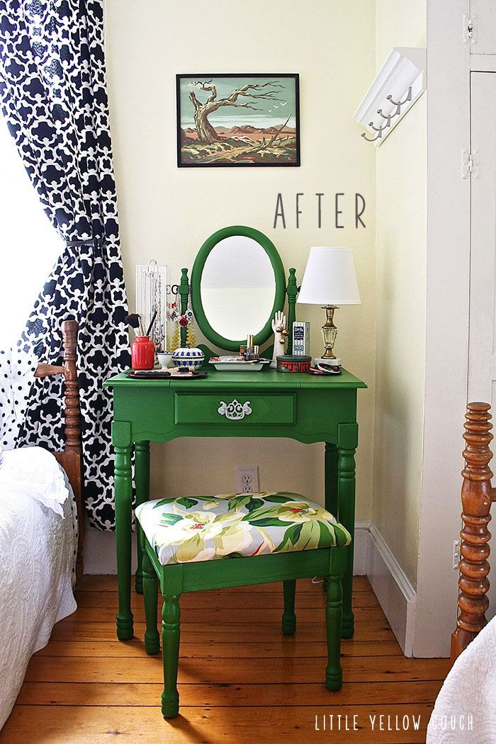 Vanity: re-painted and re-covered.  Little Yellow Couch, www.littleyellowcouch.com