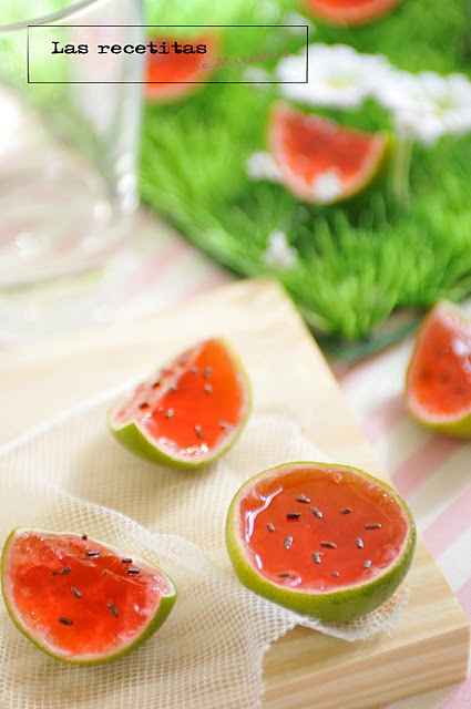 Creative jello shots that look like watermelons.  I will never be patient enough to try this but it is cool