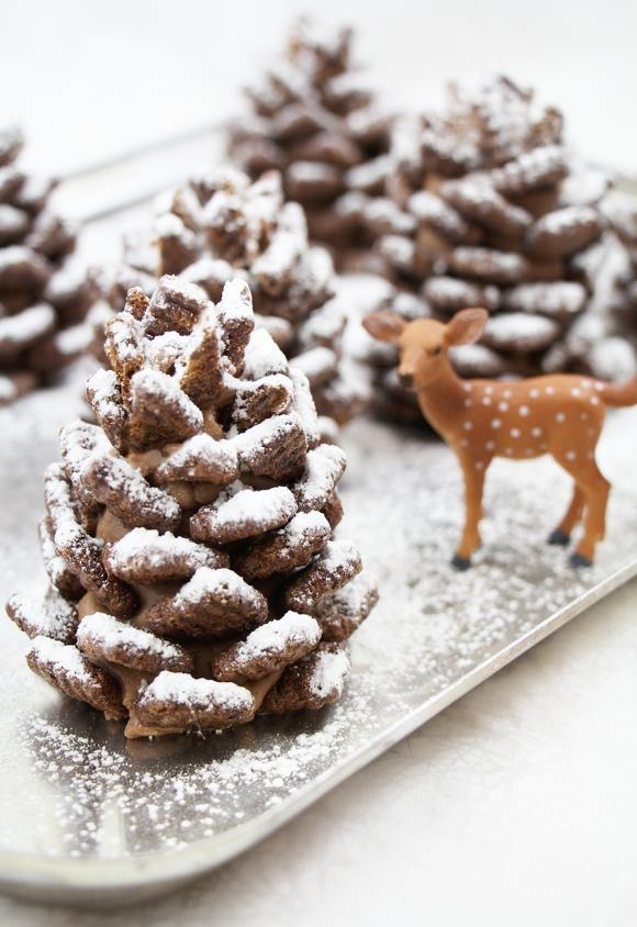 snowy chocolate pinecones (made from nutella and cereal)