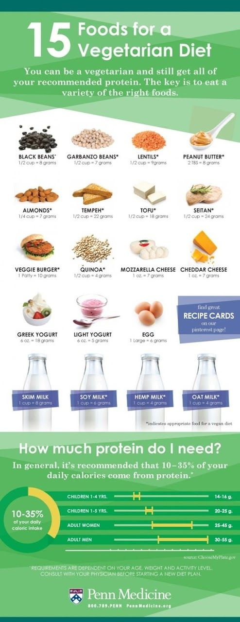 Its easy to meet daily recommended protein intake on a vegetarian or vegan diet - 15 Foods for a Vegetarian Diet to Meet Protein Needs [Infographic]
