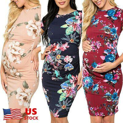 (Werbung) eBay-US Schwangere Frauen Floral Kurzarm Mutterschaft Bodycon … – Maternity. Women's Clothing
