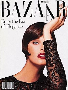Harper's Bazaar´s cover, with Linda Evangelista. Photo by Patrick Demarchelier (1992)