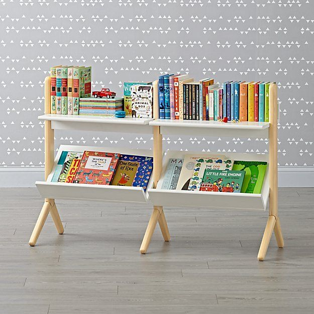 Danish Modern White & Natural Wide Bookcase | The Land of Nod