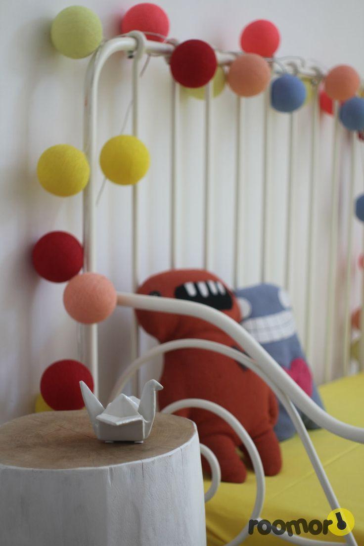 kid's room, cotton balls light, wood, origami, garland