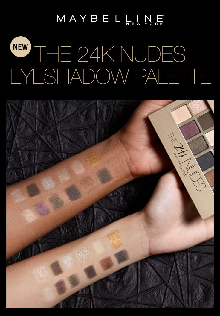 The NEW Maybelline 24K Nudes Palette is every eyeshadow palette lover's dream! This 12-shade eyeshadow palette features dazzling colors infused with metallic gold pigments. From sparkling gold and shimmering nude to gilded smoke and aubergine spark, this makeup palette is perfect for creating versatile eye looks.