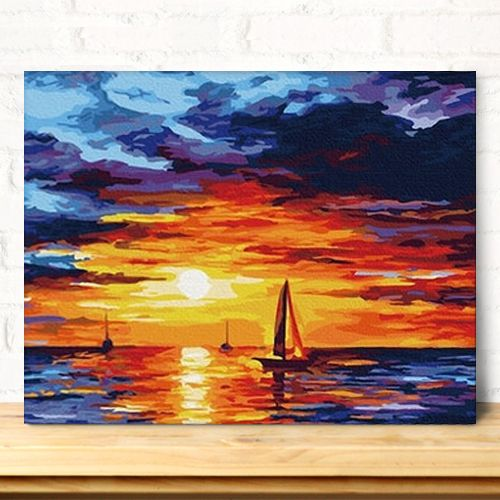 Mahuaf-x357 закат приморский оформлена Картина картины по номерам для рисования на холсте сделай сам Цифровой декор для дома для гостиной 40x50см