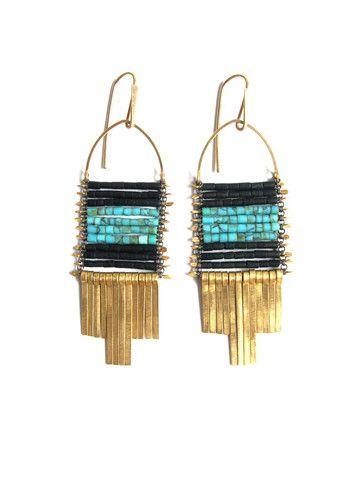 Demimonde Turquoise and Black Jade Earrings - Demimonde