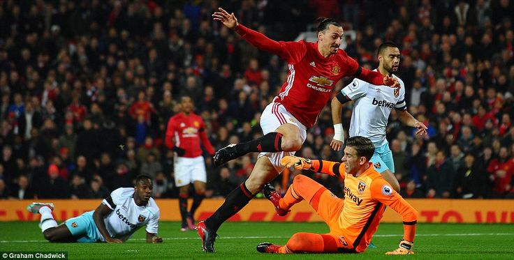 In the aftermath of his shot Ibrahimovic and Adrian had a coming together inside the penalty area