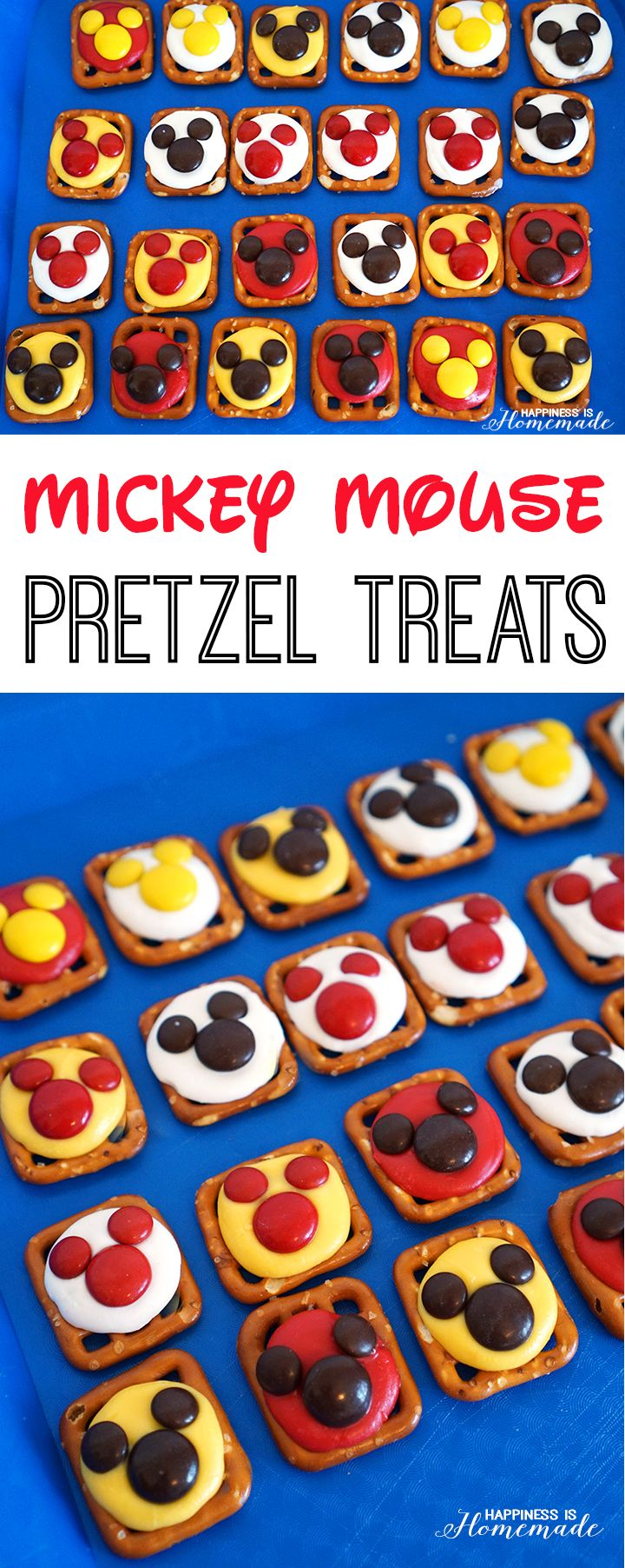 Fun Mickey Mouse pretzel treats - great for a #DisneyKids party snack! - Happiness is Homemade