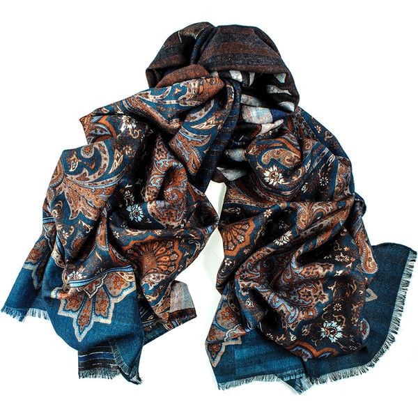 Black Floral and Geometric Reversible Wool and Silk Scarf ($160) ❤ liked on Polyvore featuring men's fashion, men's accessories, men's scarves, mens silk scarves and mens wool scarves