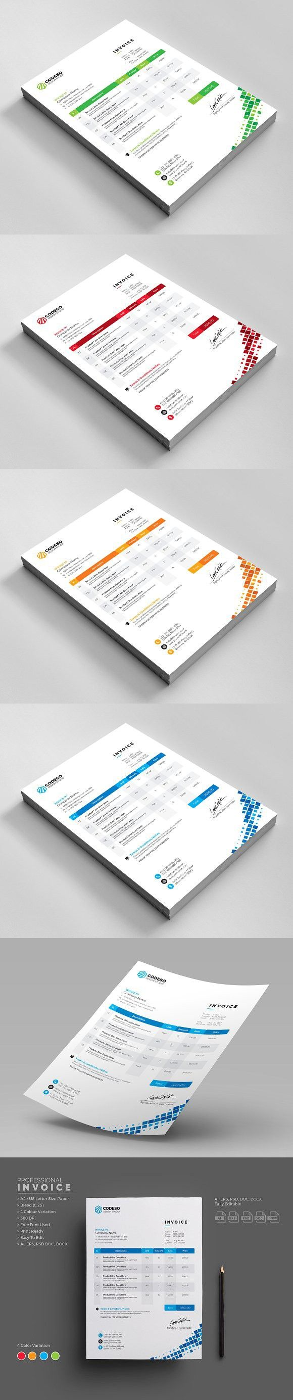 Business Invoice. Stationery Templates