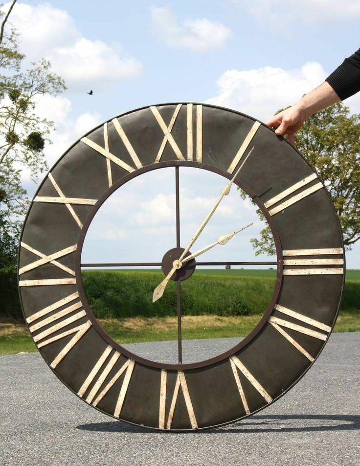 grande horloge murale cadre ferronnerie fer metal industriel usine cm ebay with grande horloge. Black Bedroom Furniture Sets. Home Design Ideas