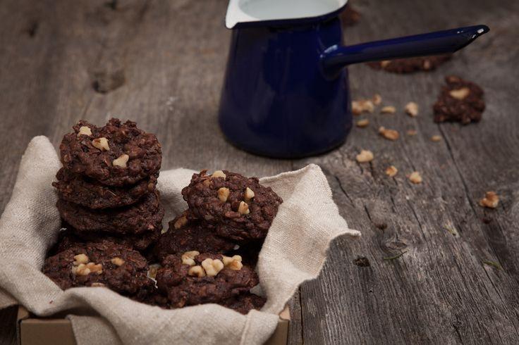 Chocolate Oatmeal Cookies. Got my Valrhona cocoa powder last week!